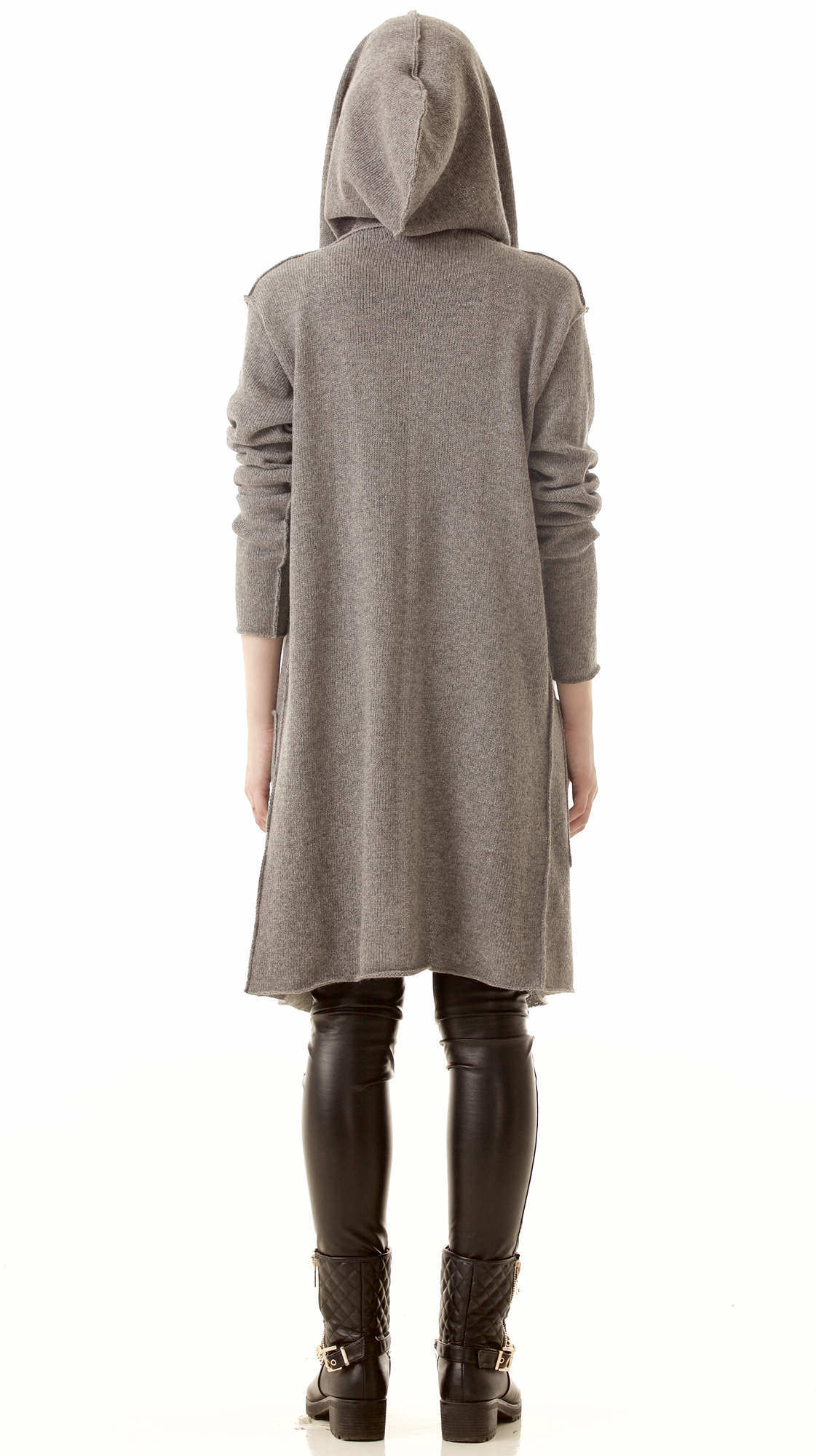 Graue kaschmir strickjacke mit kapuze für Damen EDITH