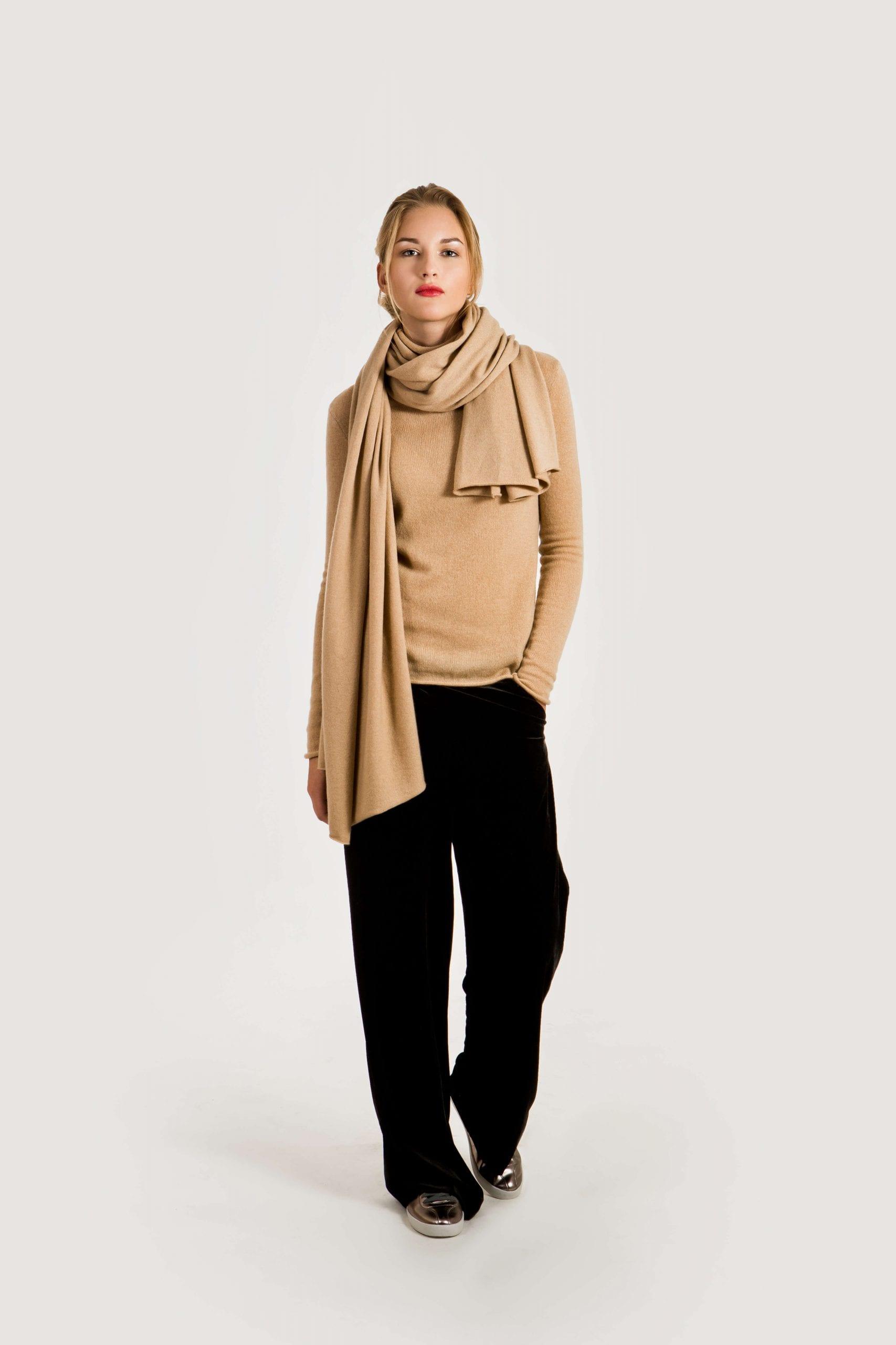 Kamel Kaschmir Strickschal Camel Beige für Damen ALEX